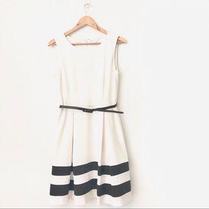 CALVIN KLEIN Black/White Sleeveless Skater Dress